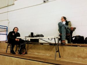 Joe Gaffney and John Thomsen getting set to call the game from their makeshift broadcast booth